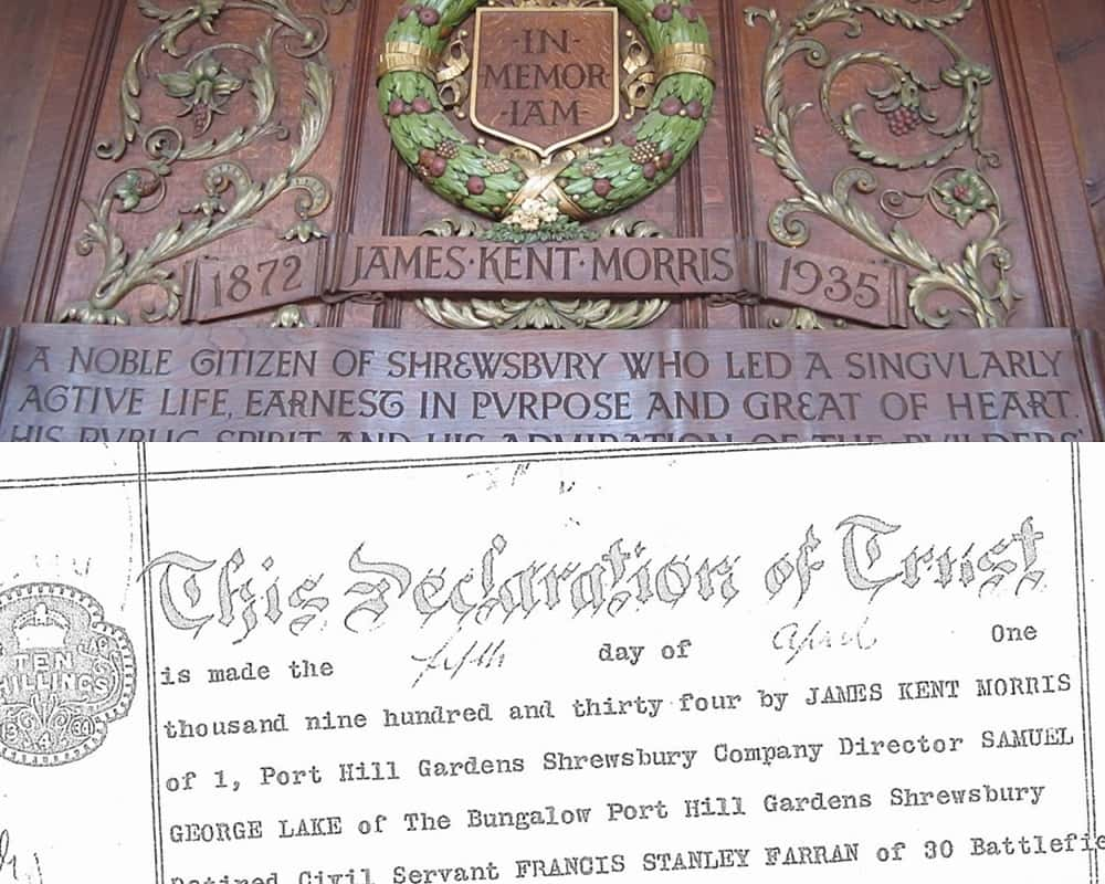 Morris Hall Shrewsbury carved memorial plaque to James Kent Morris and the Declaration of Trust