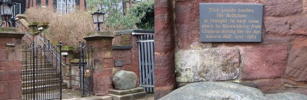 "The ""Bell stone"" in position outside The Morris Hall Shrewsbury"