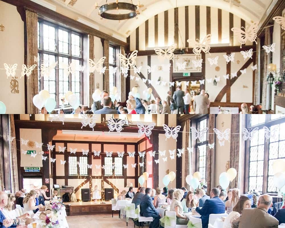 The half-timber work inside the Morris Hall Shrewsbury makes a stunning backdrop for events