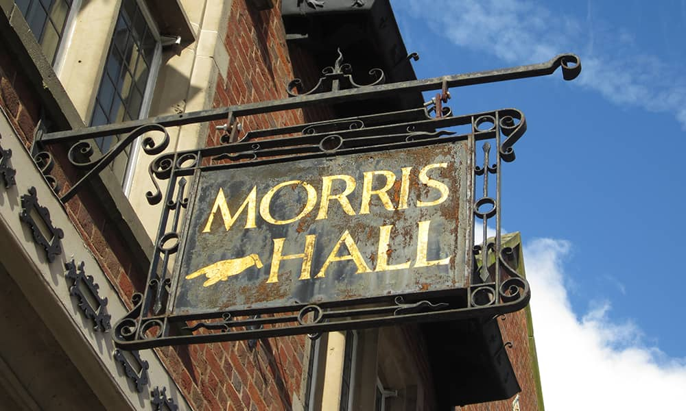 Morris Hall Shrewsbury events venue sign detail