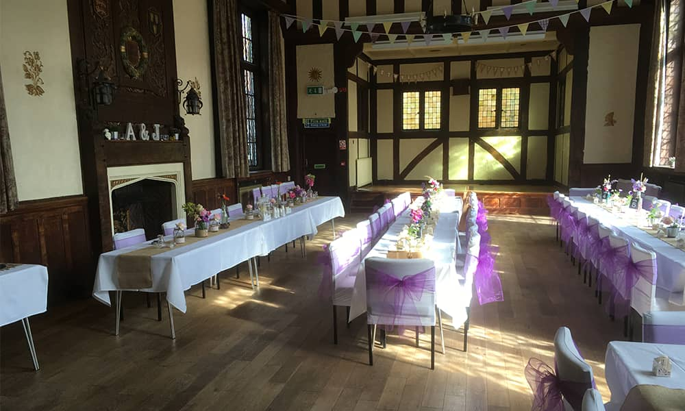 Morris Hall Shrewsbury historic events venue wedding reception tables ready for guests