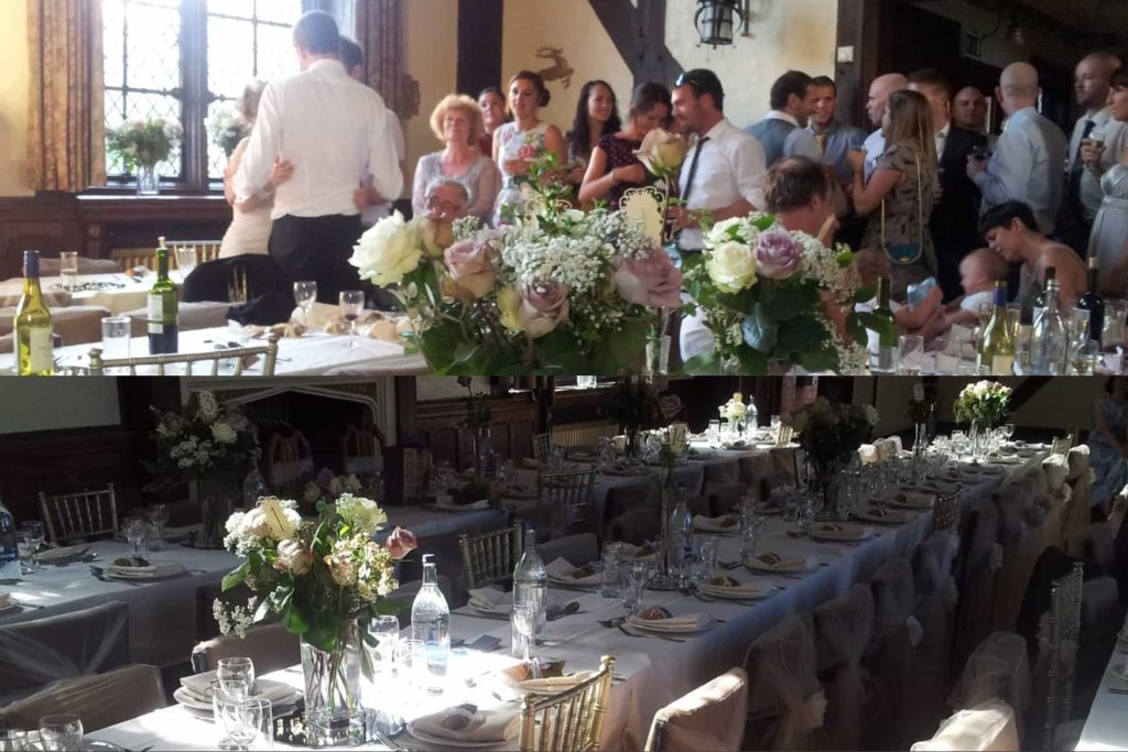 Morris Hall Shrewsbury events venue wedding reception guests and table arrangement